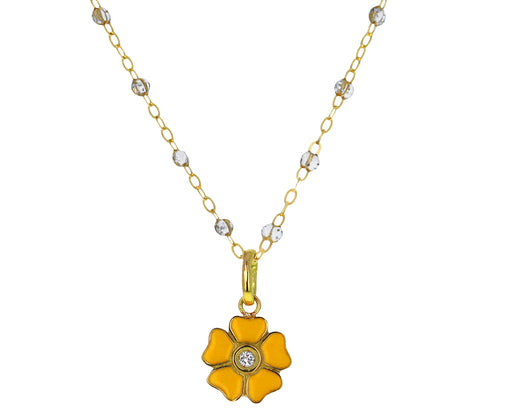 Lemon Enamel and Diamond Flower Pendant ONLY