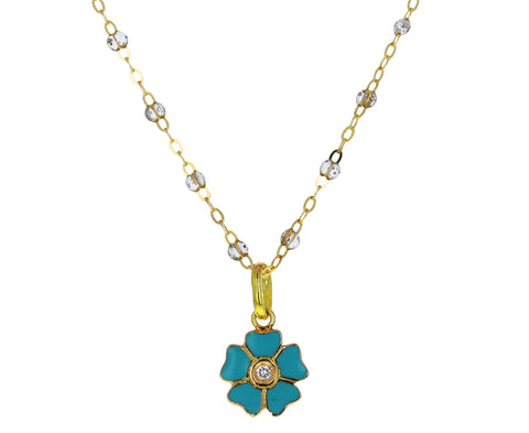 Iceberg Enamel and Diamond Flower Pendant ONLY