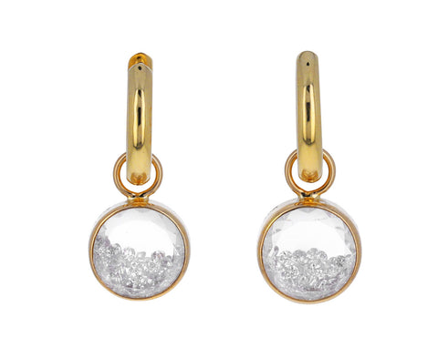 White Diamond Kalediscope Shaker Baby Hoop Earrings