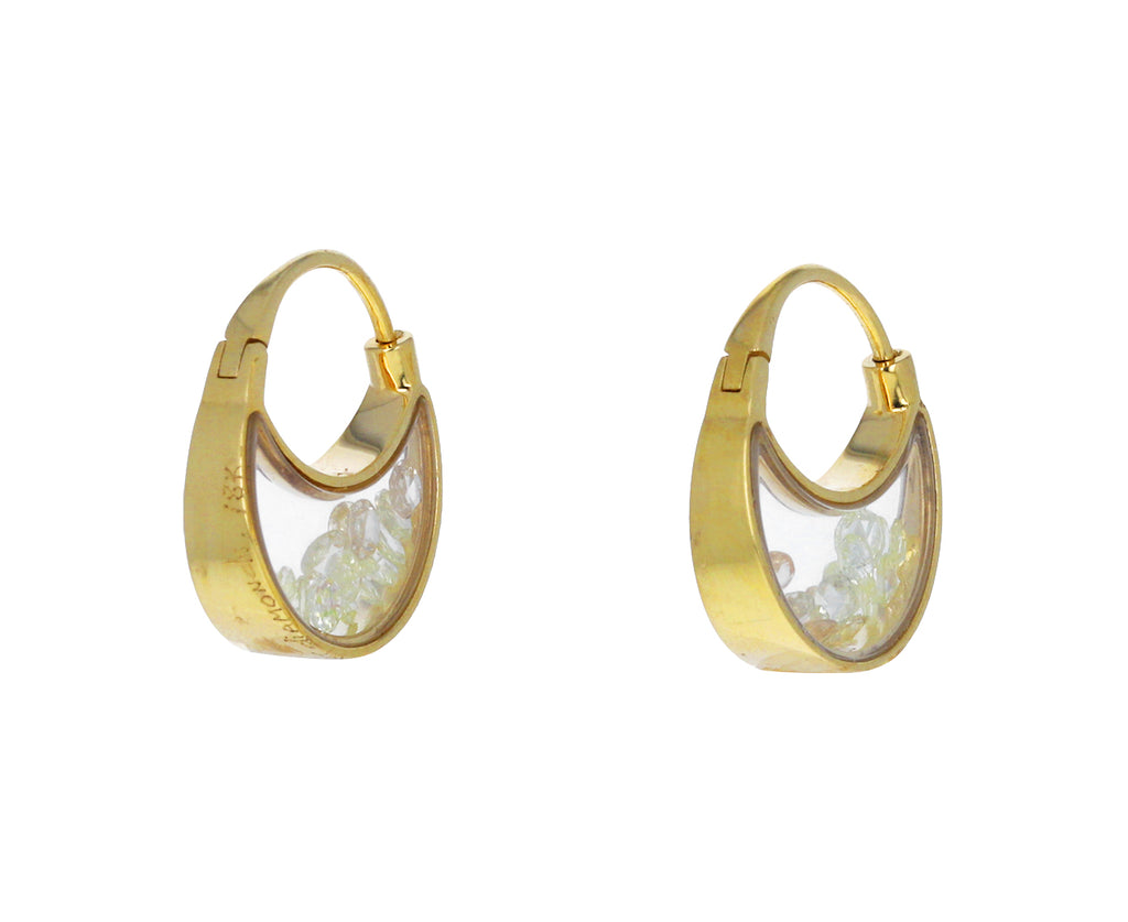 Yellow Diamond Kaleidoscope Shaker Hoop Earrings
