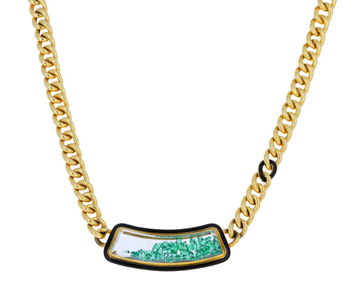 Emerald Shaker Curb Chain Necklace