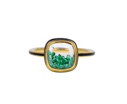 Emerald Kaleidoscope Shaker Baby Ring