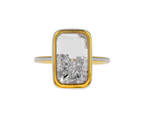 White Sapphire Kaleidoscope Shaker Ring with White Diamonds