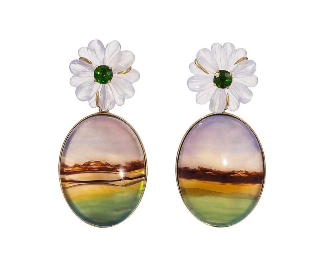 Quartz, Chrome Diopside and Agate Flower Earrings