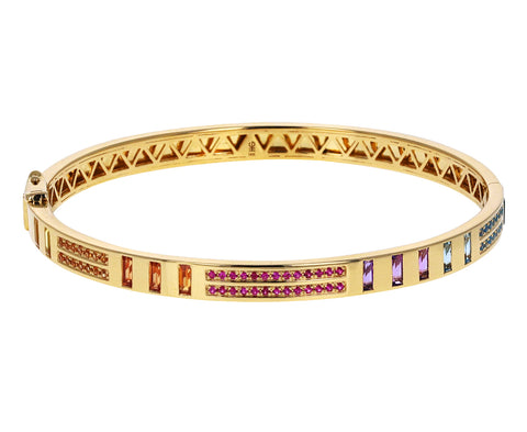 Rainbow Sapphire and Diamond Inlay Bracelet