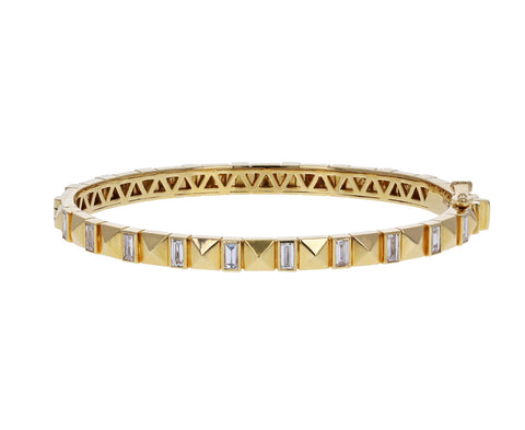 Baguette Diamond Pyramid Bangle Bracelet
