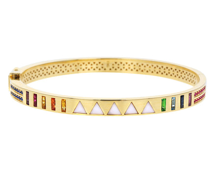 White Onyx Triangle Inlay and Rainbow Sapphire Baguette Bracelet