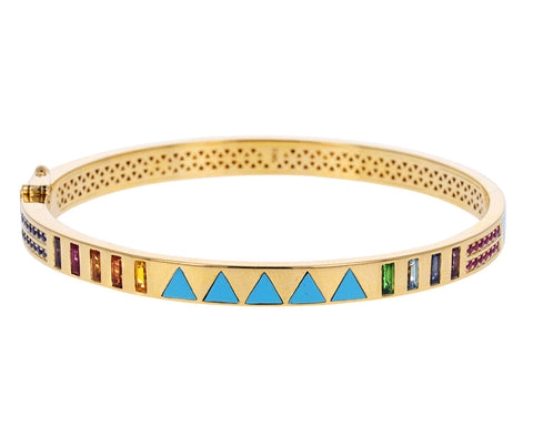 Turquoise Triangle Inlay and Rainbow Sapphire Bangle Bracelet