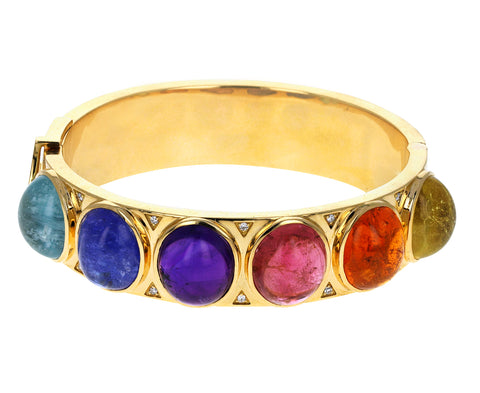 Diamond Multi Gem Cabochon Bangle Bracelet