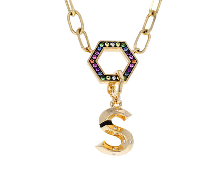 Diamond S Initial Charm Pendant ONLY