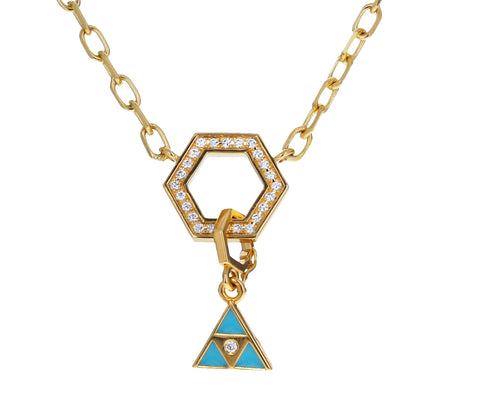 Turquoise Enamel Triangle Charm Pendant ONLY