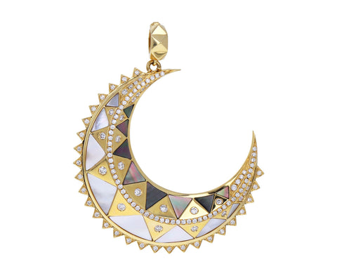 Mother-of-Pearl Inlay and Diamond Major Crescent Charm Pendant ONLY