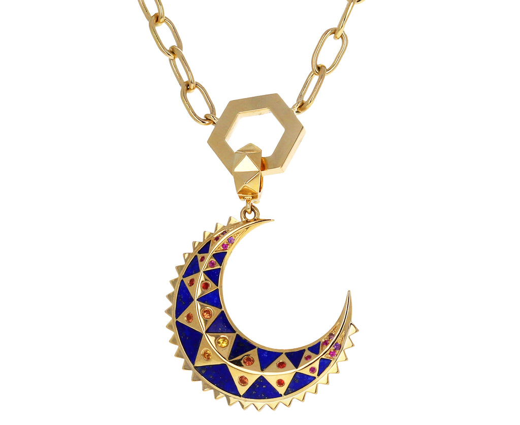 Mini Crescent Lapis Inlay Crescent Charm Pendant ONLY