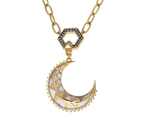Mother of Pearl and Diamond Crescent Moon Pendant ONLY