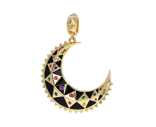 Mini Black Onyx Inlay Crescent Charm Pendant ONLY