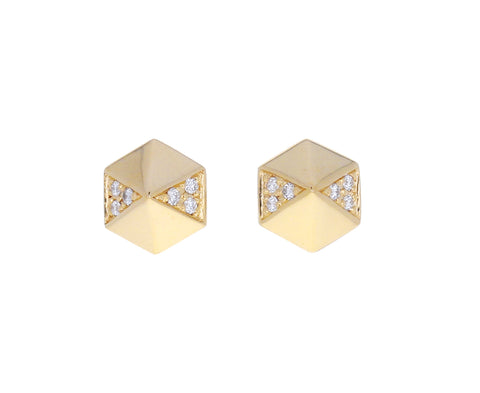 Diamond Hexagonal Pyramid Stud Earrings