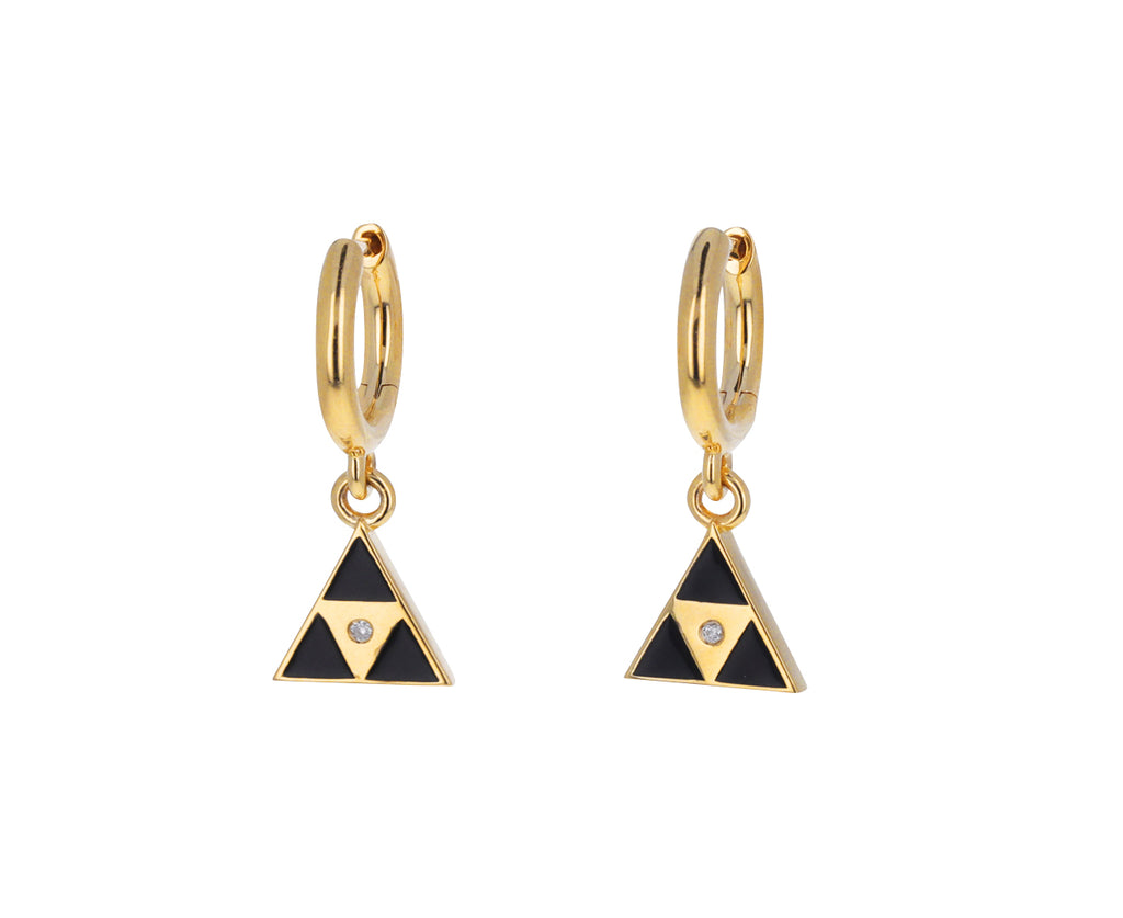 Black Enamel Triangle Huggie Hoops
