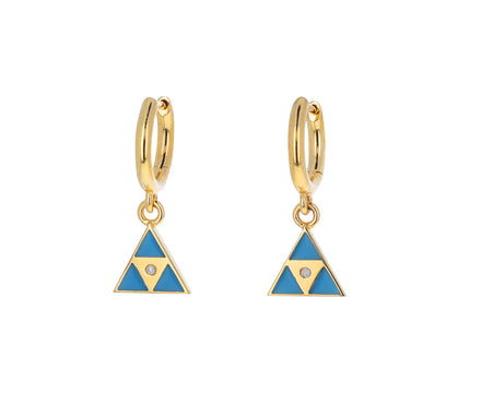 Turquoise Triangle Huggie Hoops