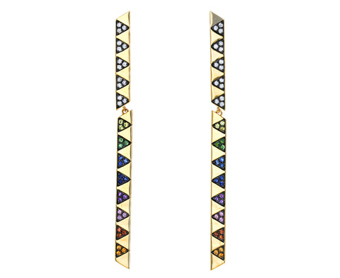 White Diamond and Rainbow Sapphire Articulated Stick Earrings