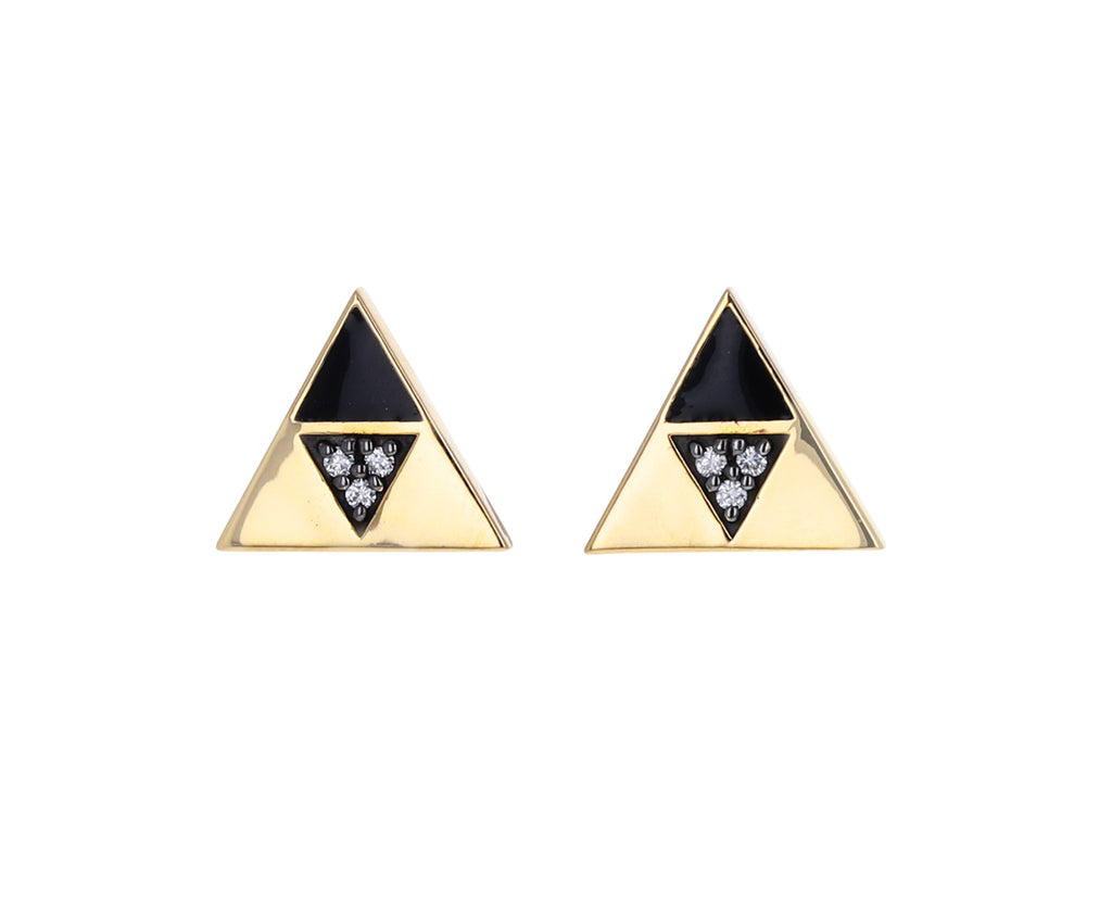 Enamel and Diamond Triangle Stud Earrings