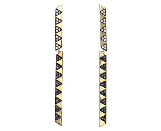 Articulated Black and White Diamond Stick Earrings