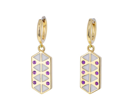 Amethyst and White Enamel Talisman Huggie Hoops