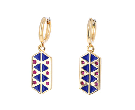 Ruby and Blue Enamel Talisman Huggie Hoops