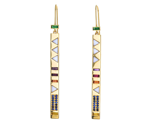 Mother-of-Pearl, Emerald and Sapphire Juju Stick Earrings