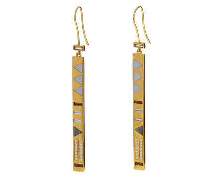 Mother-of-Pearl and Diamond Stick Earrings - TWISTonline