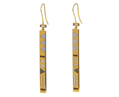 Mother-of-Pearl and Diamond Stick Earrings