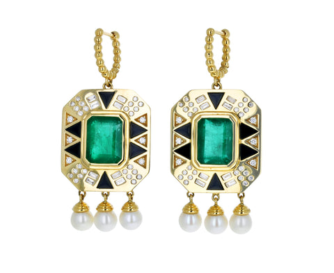 Cleo's Emerald and Diamond Dangle Earrings