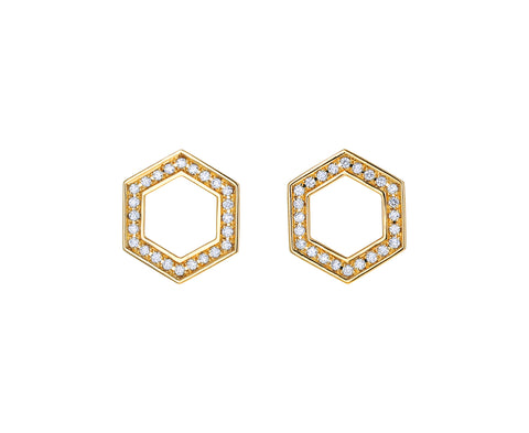 Diamond Hexagon Foundation Stud Earrings