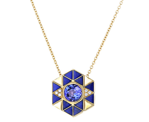 Lapis and Tanzanite Evil Eye Necklace