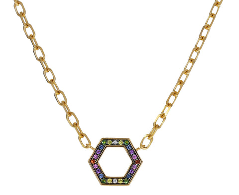 Long Rainbow Sapphire Foundation Necklace