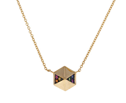 Rainbow Sapphire Hexagon Pendant Necklace
