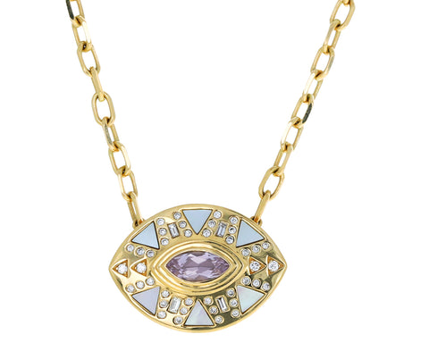 Amethyst, Diamond and Mother-of-Pearl Cleo's Party Pendant Necklace