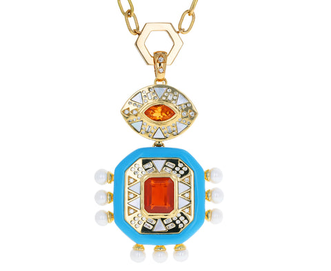 Fire Opal, Pearl, Diamond and Turquoise Totem Pendant ONLY