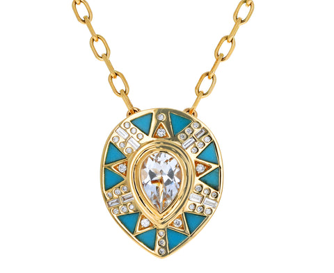Diamond, Rose de France, and Turquoise Party Pendant Necklace