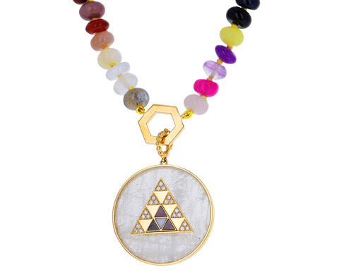 Multi Gem Beaded Foundation Necklace with Moonstone Medallion