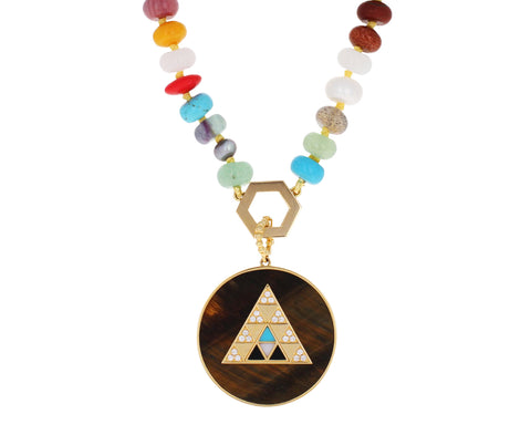 Multi Gem Foundation Tiger's Eye Medallion Necklace