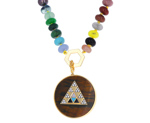 Multi Gem Foundation Tiger's Eye Pendant Necklace