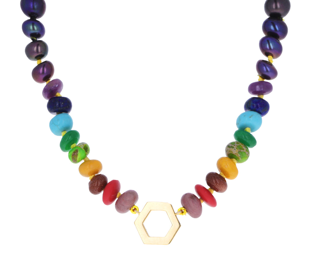 Long Tahitian Pearl and Multi Gem Foundation Necklace