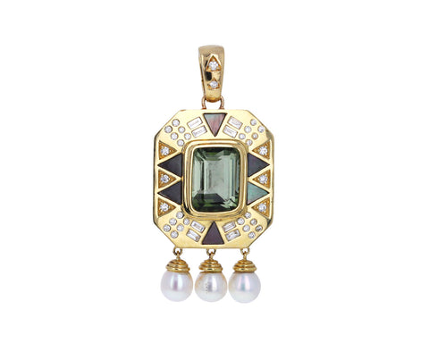 Mint Tourmaline, Diamond and Pearl Princess Charm Pendant ONLY