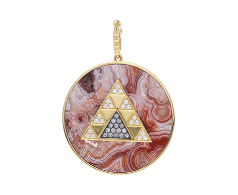 Pink Lace Agate and Diamond Triangle Medallion Pendant ONLY