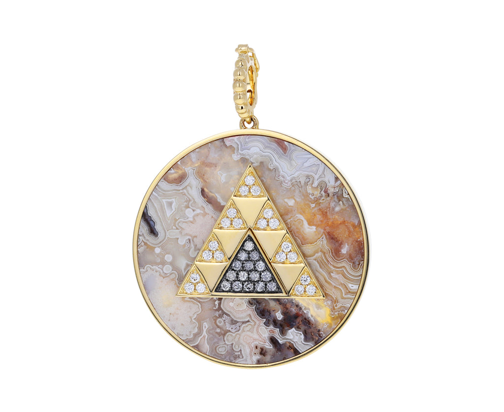 Lace Agate and Diamond Triangle Medallion Pendant ONLY