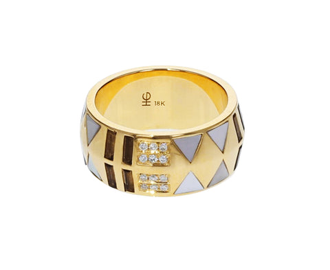 Mother-of-Pearl and Diamond Inlay Cigar Band