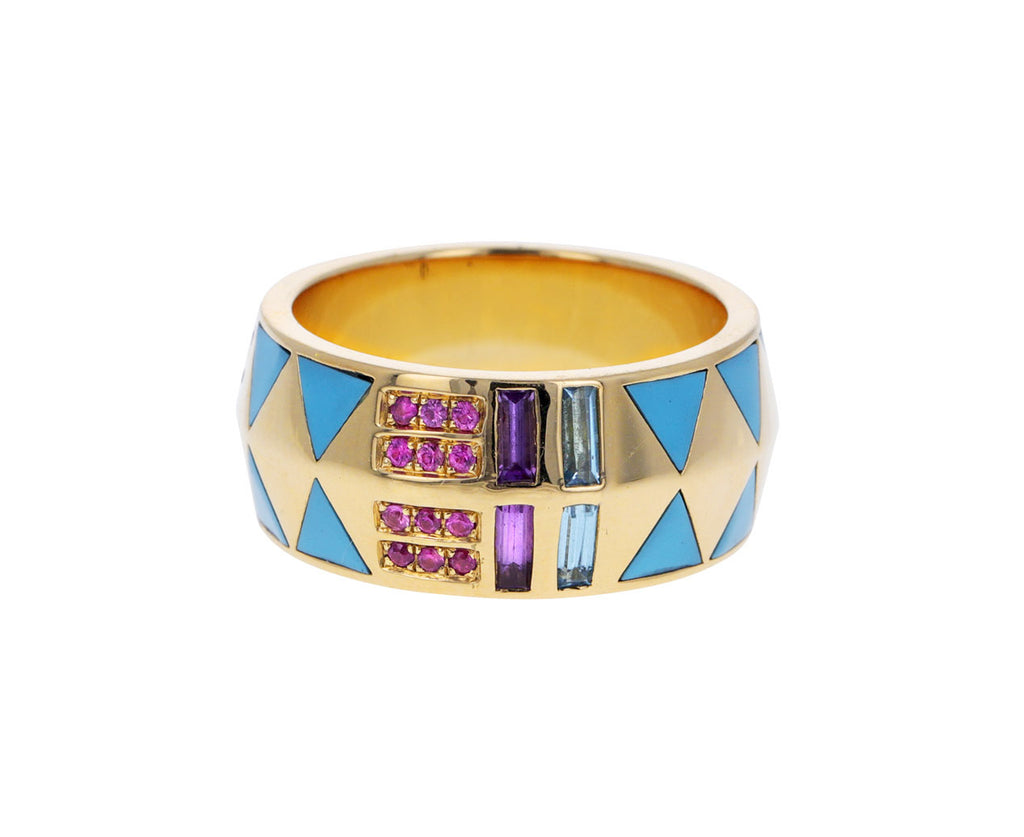 Turquoise, Rainbow Sapphire and Diamond Juju Cigar Band
