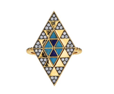 Lapis, Turquoise and Diamond Amina Ring