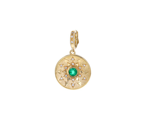 Emerald and Diamond Mini Sun Sign Medallion ONLY