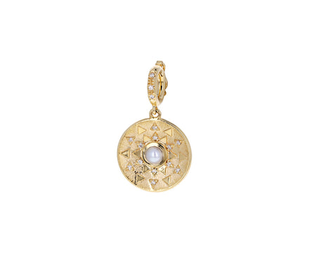 Pearl and Diamond Mini Sun Sign Medallion ONLY